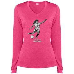 Do you love soccer? You're going to love our shirts!  Passion for Soccer - Ladies LS Heather Dri-Fit V-Neck Tee - $29.99