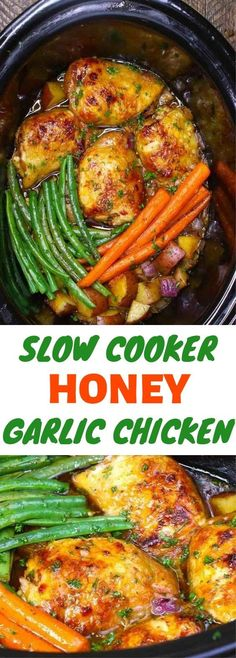 This Slow Cooker Honey Garlic Chicken has súccúlent chicken thighs and vegetables in a sticky honey garlic saúce. Its an easy crockpot chicken recipe with 15 minútes of prep before the slow cooker does all the work. Crockpot Chicken And Vegetables, Garlic Chicken Slow Cooker, Easy Crockpot Chicken, Honey Garlic Chicken, Chicken Cooker, Recipe Chicken, Butter Chicken, Slow Cooker Chicken Thighs, Dinner Crockpot