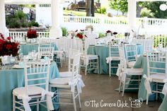 Aqua blue, red, white outdoor wedding. Linens from La Tabola, chiavari chairs, lush red floral from Posh Petals.   Planning a Michigan Wedding with Pearls Events: Real Wedding 2012 | Liz & Ryan