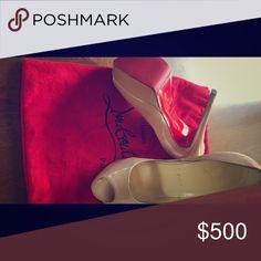 Christian Loubs Peep Patent Leather Nude Platform Size 38- Christian Louboutin Nude Platform Peep Toe Christian Louboutin Shoes Heels