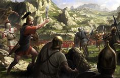 """Viriato against the Romans by wraithdt (I'm not sure this is completelly historically accurate, and I don't really like his depiction of the """"Turdetani-like"""" warrior in the left, but the illustration is pretty cool nonetheless)."""