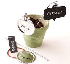 Plant labels from mason jar lids