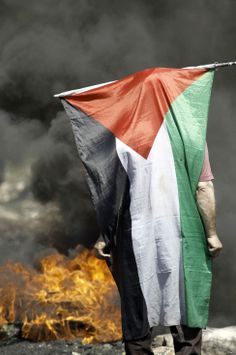 A Palestinian protester stands with his national flag draped over himself during clashes with Israeli soldiers following a demonstration against the expropriation of Palestinian land by Israel in the occupied West Bank. (Agence France-Presse, April 25, 2014)