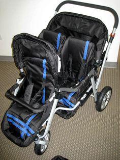 Newly Designed Triple Triplet Baby Jogger Stroller Infant Roller Chair Blue | eBay