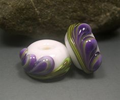 HANDMADE LAMPWORK BEADS Earrings Pair Donna Millard sra Fresia blue purple green white lily flower earring spring summer