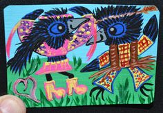 Baby Crow Art Aceo Painting Groovy Original by MagicLoveCrow, $11.00