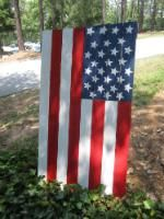 Build your own American Flag banner made out of lumber.