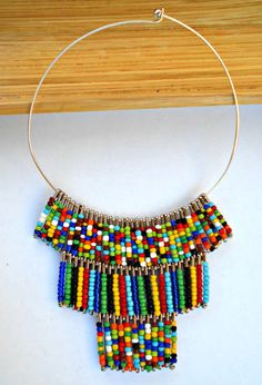 Multi Color Maasai Inspired Bib Collar Necklace by Styledentity, $35.00
