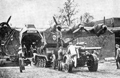 The typical loads it carried were: One 15 cm FH18 field artillery piece (5.5 ton) accompanied by its Sd.Kfz.7 halftrack transport vehicle (11 ton), two 3.6 tonne (4 ton) trucks, 8,700 loaves of bread, an 88 mm Flak gun and accessories, 52 drums of fuel (252 L/45 US gal), 130 men, or 60 stretchers. Some Me 321s were converted to Me 323s, but the majority were built as six-engine aircraft from the beginning.~ BFD