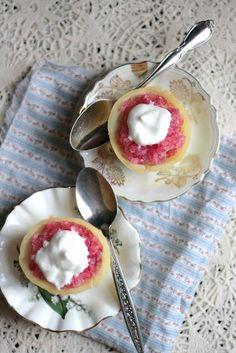 Raspberry Lemon Ginger Granita with Lemon Cream