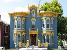 Blue & Gold Italianate House, Eaton, Ohio   Flickr - Photo Sharing!