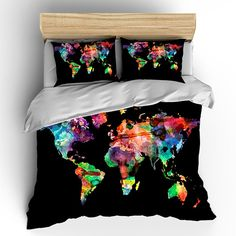 Explore world map comforter or duvet cover twin twin xl full custom bedding duvet cover watercolors on black by redbeauty gumiabroncs Image collections