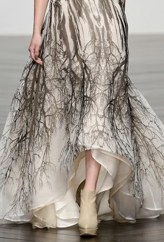Ghostly tree print dress; runway fashion details // Maria Grachvogel Fall 2013