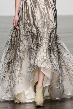Ghostly tree print dress; runway fashion details // Maria Grachvogel Fall 2013