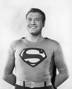 George Reeves as Superman. The first one I remember First Superman, Real Superman, Superman Movies, Superman Logo, Johnny Lewis, Original Superman, George Reeves, Adventures Of Superman, Celebrity Deaths