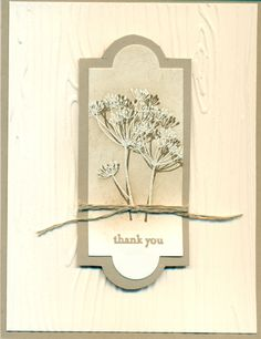 Stampin Up: Apothecary die, Garden Silhouettes, crumb cake, soft suede, stamped in soft suede, then embossed right over it.