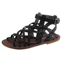 4fc58f926b3c73 Sandalup Womens Open Toe Flat Gladiator Sandals with Buckle Black Size 7    Details can be