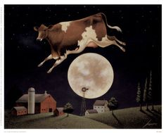 Art Print: Cow Jumps over the Moon Art Print by Lowell Herrero by Lowell Herrero : Stretched Canvas Prints, Framed Art Prints, Poster Prints, Art Posters, Art Wall Kids, Canvas Wall Art, Big Canvas, Kunst Poster, Arte Popular
