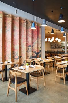 Press kit - Ancient Art of Japanese Tattooing Inspires Latest Little Tokyo Restaurant in Los Angeles - Wick Architecture & Design + LAND Design Studio Japanese Restaurant Interior, Japan Interior, Japanese Interior Design, Restaurant Interior Design, Shop Interior Design, Cafe Design, Cafe Interior, Japanese Bar, Japanese Style House