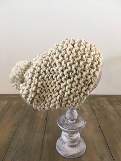 Slouchy Hat, Knitted Hats, Beige, Pom Poms, Knitting, Trending Outfits, Specs, Unique Jewelry, Handmade Gifts