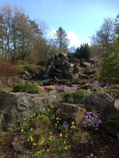 Waterfall in Threave Gardens near Castle Douglas. Dumfries and Galloway. April 2015. B.