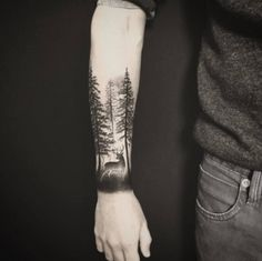 40 creative forest tattoo designs and ideas blackwork tattoo Forest Tattoo Sleeve, Forest Forearm Tattoo, Nature Tattoo Sleeve, Tattoo Nature, Forarm Tattoos, Forearm Sleeve Tattoos, Best Sleeve Tattoos, Best Forearm Tattoos, Men Arm Tattoos
