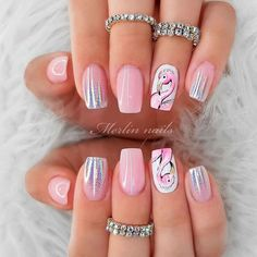 Holo Nails With Pink Flamingo ❤ There is no need to wonder how to do ombre nails anymore! We know everything about the best and the easiest techniques of ombre, which you can easily replicate at home. Crazy Nail Designs, Ombre Nail Designs, Short Nail Designs, Acrylic Nail Designs, Nail Art Designs, Beach Nail Designs, Toe Nails, Pink Nails, Nail Designer