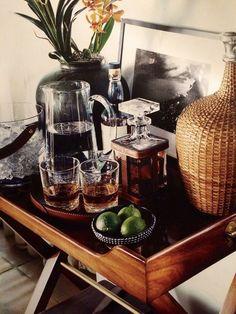 Home office library study ralph lauren 44 Ideas Bar Cart Styling, Bar Cart Decor, Tray Decor, Bar Cart Essentials, British Colonial Decor, Bar Tray, Drinks Tray, Tropical Decor, Bars For Home