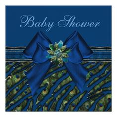 Elegant Blue Peacock Animal Print Baby Shower Personalized Invitation