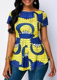 Boat Neck Printed Short Sleeve Blouse – African Fashion Dresses