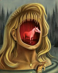 """Laura"" by Chris Buzelli - x 16 "" oil on panel. From the Twin Peaks: Fire Walk With Me Anniversary group art exhibition at the Copro Nason Art Gallery, Santa Monica, CA April/May Illustration Arte, Illustrations, David Lynch Twin Peaks, Group Art, Lowbrow Art, Fan Art, Pop Surrealism, Surreal Art, Twins"