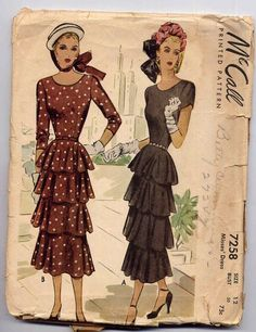 1940s  teired flounce dresses patterns | Vintage 1940s Tiered Dress Sewing Pattern Scoop Neckline McCall 7258 ...