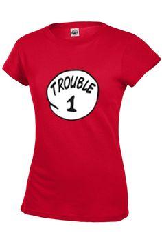 c108a3e7 Trouble 1 AND 2 Womens Size T shirt 100% Cotton (pre-shrunk)