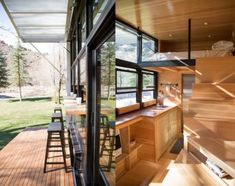 Image result for floor plans for tiny houses on wheels with glass, patio, Washer and dryer. Shower and tub Full size refrigerator Lots of glass and sliding glass door with patio Raised kitchen for lots of storage Solar energy Rainwater Compost toilet