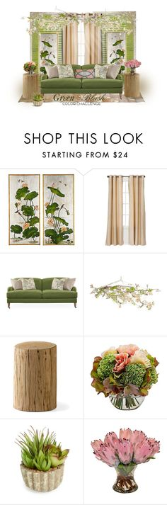 """Green & Blush"" by craftygeminicreation ❤ liked on Polyvore featuring interior, interiors, interior design, home, home decor, interior decorating, Bradburn Gallery, Eclipse, Robin Bruce and Canopy Designs"