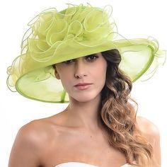 721ef3d0752 Women Kentucky Derby Church Dress Organza Hat Wide Brim Flat Hat (8  Colours) (
