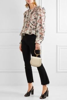 Isabel Marant - Uster Studded Lace-trimmed Printed Cotton Blouse - Ecru