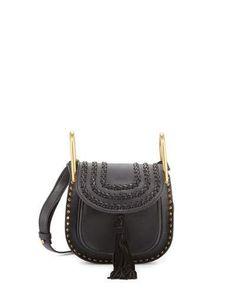 CHLOÉ Hudson Mini Leather Shoulder Bag, Black. #chloé #bags #shoulder bags #lining #suede #