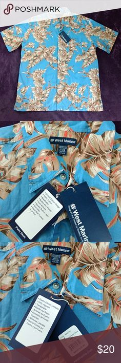 *West Marine* Sz 2XL Men's Tropical Button Shirt Brand New W/Tags!!! Festive, tropical, Men's, button down, short sleeve shirt. Perfect gift for the Man, Dad, Grandpa or Fisherman in your life 😀. Blue w/shades of tan, beige, brown & orange in the leaf design. Excellent condition! From a smoke-free home. Please check all the pictures to determine the condition & the measurements. I have 2 more of the same shirt, same size, just different colors, listed also. Love 2 bundle! Thanks so much for…