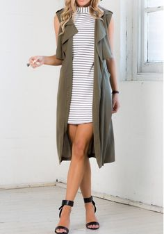Army Green Plain Belt False 2-in-1 Turndown Collar Fashion Long Vest