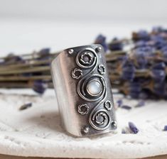 Wide silver ring Moonstone ethnic jewelry Handmade stone