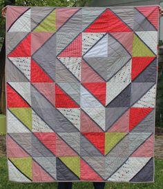 Grey and Scarlet Diamonds Modern  Quilt. via Etsy.