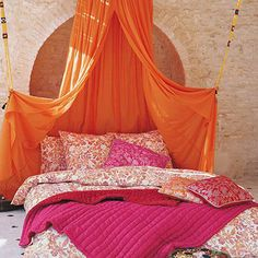 Pink and Orange Bohemian Style Tent & Bedding