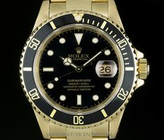 ROLEX 18K YELLOW GOLD BLACK DIAL SUBMARINER DATE GENTS WATCH 16618   http://www.watchcentre.com/product/rolex-18k-yellow-gold-black-dial-submariner-date-gents-watch-16618%C2%A0/5780