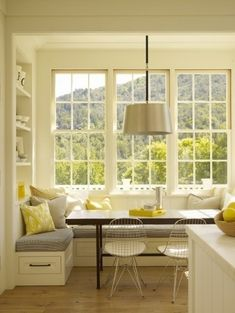 Sunny breakfast nook. Can I also install the view from those windows? Pretty please?