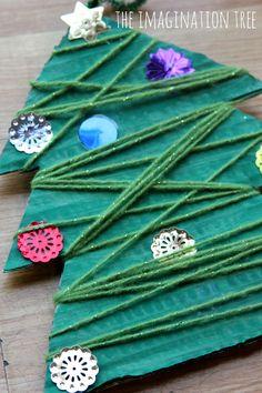 Yarn wrap Christmas tree activity...