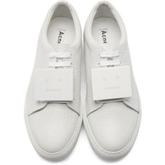 Acne Studios White Grained Leather Adriana Sneakers (9.144.520 VND) ❤ liked on Polyvore featuring shoes, sneakers, metallic shoes, platform trainers, white lace up shoes, white platform sneakers and low top