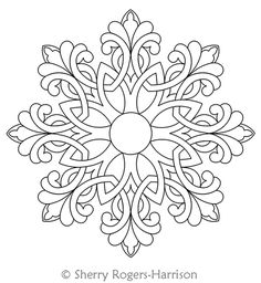 Digital Quilting Design Celtic Snowflake Medallion by Sherry Rogers-Harrison.