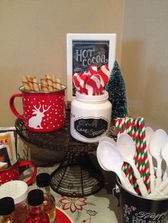 Hot cocoa bar at a winter New Year's party! See more party planning ideas at CatchMyParty.com!