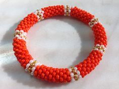 Bead Crochet Bracelet in Orange on Etsy, $35.00